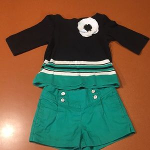 Other - Janie and Jack 2T emerald green & black shorts set